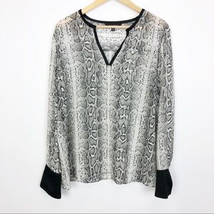 Ellen Tracy Sheer Snakeskin Top Size XL